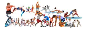 オリンピック施設とスポーツ 横位置のイラスト素材 [FYI03118175]