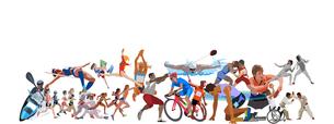 オリンピックスポーツ 横長位置のイラスト素材 [FYI03118177]