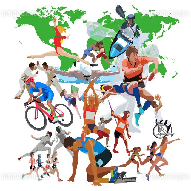 世界地図とオリンピックスポーツ 3のイラスト素材 [FYI03118181]