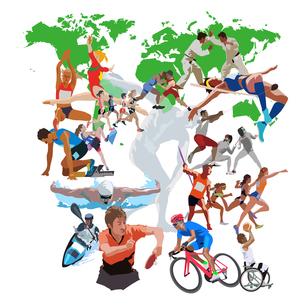 世界地図とオリンピックスポーツのイラスト素材 [FYI03118185]