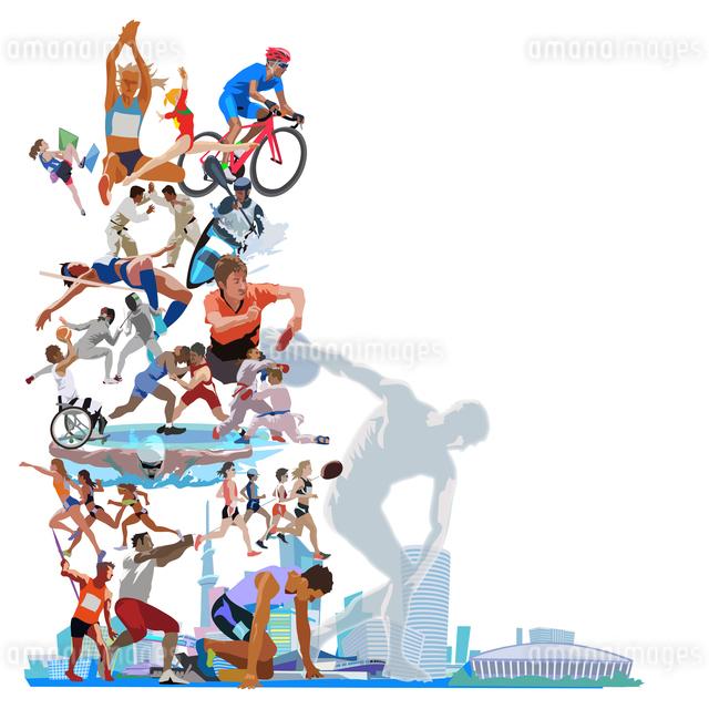 街とオリンピックスポーツ 縦位置のイラスト素材 [FYI03118190]