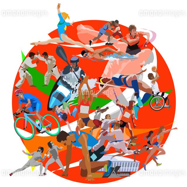 赤円形オリンピックスポーツのイラスト素材 [FYI03118193]
