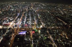 夜景空撮 名古屋栄エリアより 名古屋駅方面の写真素材 [FYI03118865]