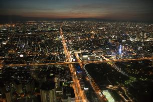 大阪天王寺エリアより 俯瞰 夜景の写真素材 [FYI03118886]