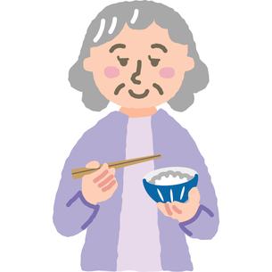 ご飯を食べる年配の女性のイラスト素材 [FYI03118901]