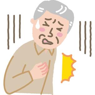 突然胸の痛みに襲われた高齢男性のイラスト素材 [FYI03118902]