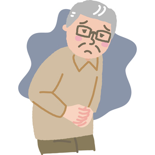 お腹に不安を抱える高齢男性のイラスト素材 [FYI03118917]