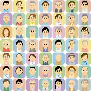 介護施設で働く男女と高齢者の集合イラストのイラスト素材 [FYI03119027]