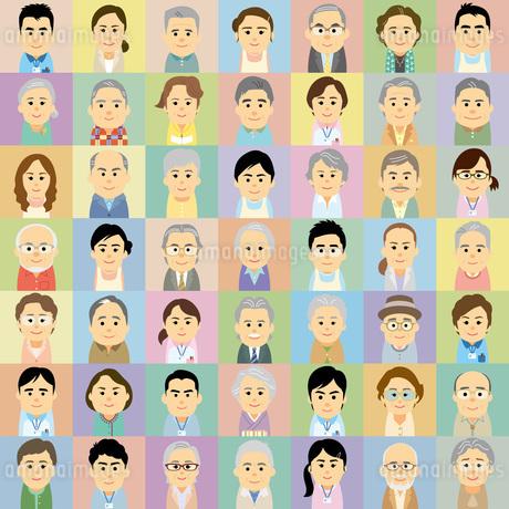 介護施設で働く男女と高齢者の集合イラストのイラスト素材 [FYI03119042]