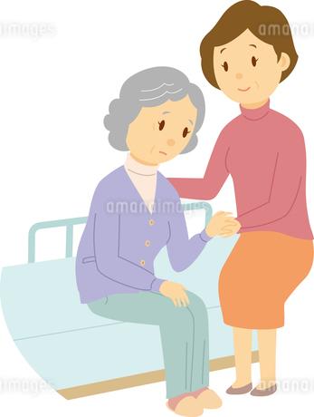 娘が母を介護する老老介護のイラスト素材 [FYI03119071]