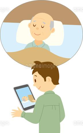 在宅の高齢者の様子を外から画像で確認のイラスト素材 [FYI03119165]