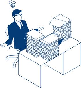 大量の書類を前にお手上げするビジネスマンのイラスト素材 [FYI03119226]