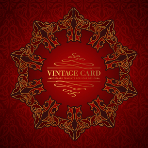 Damask medallion over red background for your vintage card. Vector illustration.のイラスト素材 [FYI03119333]