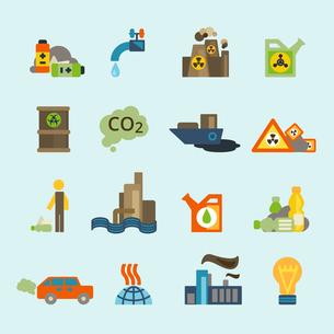 Radioactive nucleus waste and batteries disposal diffuse environment contamination symbols pictogramのイラスト素材 [FYI03119338]