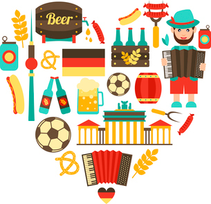 Germany travel traditional food and attractions concept icons heart set vector illustrationのイラスト素材 [FYI03119339]
