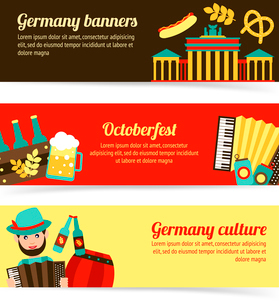 Germany travel traditional food culture Oktoberfest banner set isolated vector illustrationのイラスト素材 [FYI03119341]