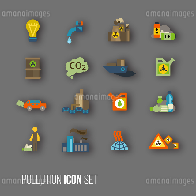 Radioactive and carbon dioxide toxic waste human activity waste air water pollution icons set isolatのイラスト素材 [FYI03119342]