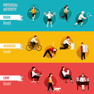 High average and low physical activity level horizontal banners set isolated vector illustrationのイラスト素材 [FYI03119346]