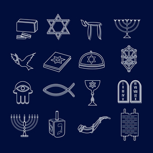 Jewish church traditional religious symbols outline icons set isolated vector illustrationのイラスト素材 [FYI03119350]