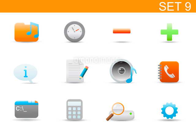 Vector illustration set of elegant simple icons for common computer and media devices functions. Setのイラスト素材 [FYI03119351]