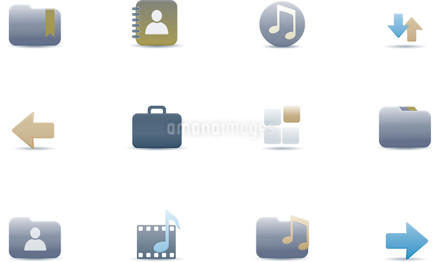 Vector illustration set of elegant simple icons for common computer and media devices functionsのイラスト素材 [FYI03119352]