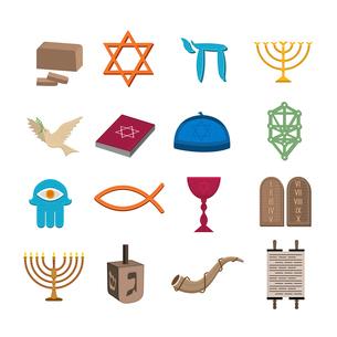 Judaism church traditional symbols icons set isolated vector illustrationのイラスト素材 [FYI03119354]