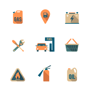 Gas fueling pump electric car charging station mechanic repair service icons set flat isolated abstrのイラスト素材 [FYI03119355]