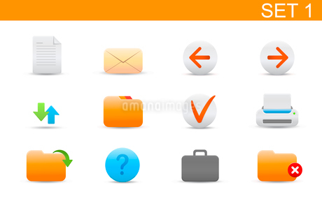Vector illustration set of elegant simple icons for common computer functions. Set-1のイラスト素材 [FYI03119359]