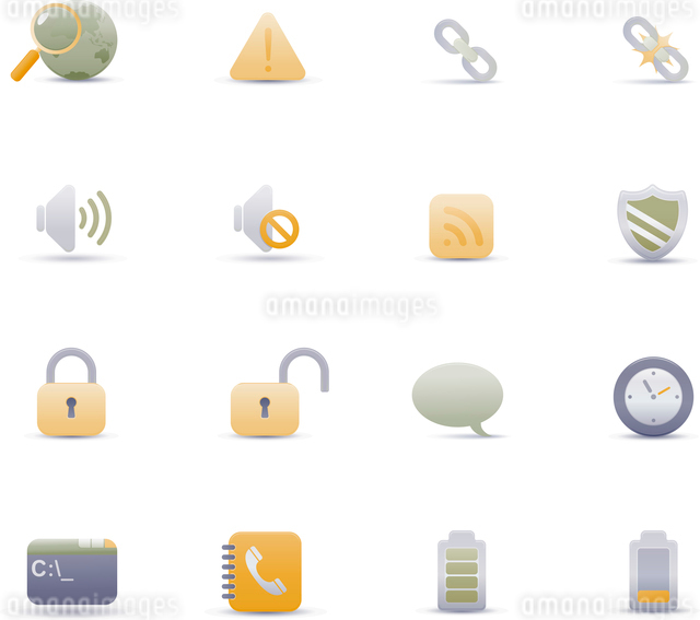 Vector illustration set of elegant simple icons for common computer functionsのイラスト素材 [FYI03119360]