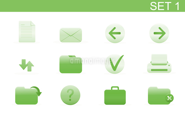 Vector illustration set of elegant simple icons for common computer functions. Set-1のイラスト素材 [FYI03119365]