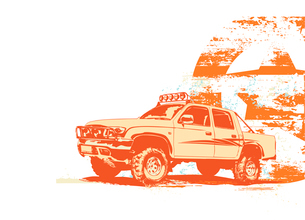 Vector illustration of stylized vintage military vehicle on the grunge backgroundのイラスト素材 [FYI03119366]