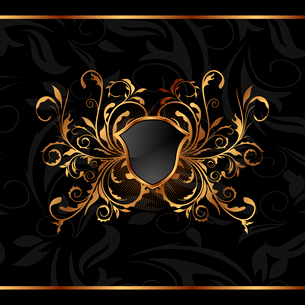 Illustration golden ornate frame with shield - vectorのイラスト素材 [FYI03119376]