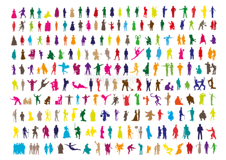 coloured people silhouettes isolated on whiteのイラスト素材 [FYI03119381]