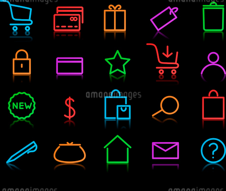 Vector illustration of neon original e-commerce Icon Set, good for web, software etc.のイラスト素材 [FYI03119386]