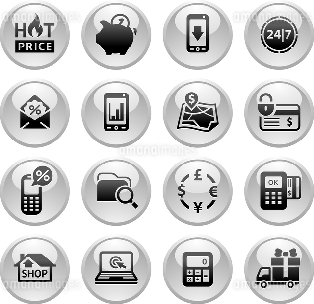 Shopping Icons, Gray round buttons newのイラスト素材 [FYI03119393]