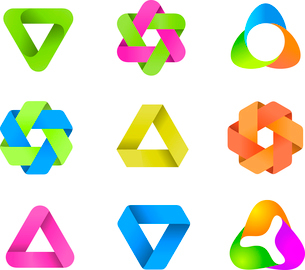 Abstract Logo template set. Icons for any type of business. Vector.のイラスト素材 [FYI03119402]