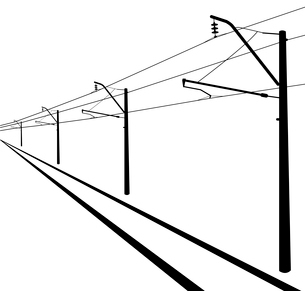 Railroad overhead lines. Contact wire. Vector illustration.のイラスト素材 [FYI03119403]