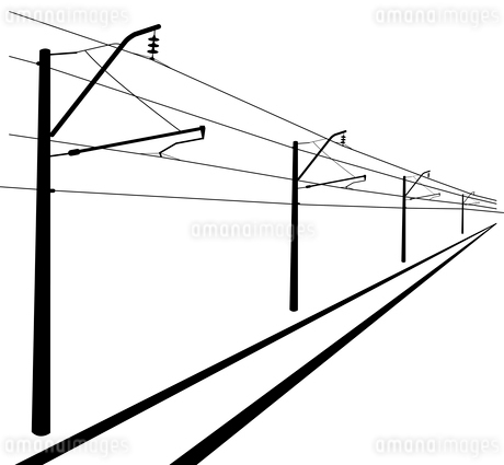 Railroad overhead lines. Contact wire. Vector illustration.のイラスト素材 [FYI03119408]