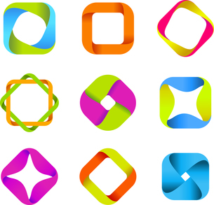Abstract logo templates. Infinite shapes. Square icons set.のイラスト素材 [FYI03119411]
