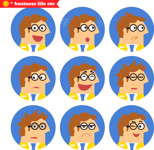 Employee facial emotions, isolated icons set vector illustrationのイラスト素材 [FYI03119438]
