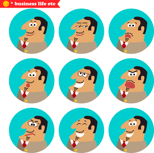 Boss facial emotions, isolated icons set vector illustrationのイラスト素材 [FYI03119439]