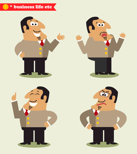 President emotions in poses, standing set vector illustrationのイラスト素材 [FYI03119440]