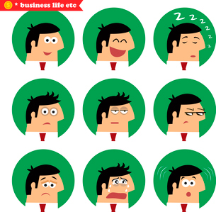 Business facial emotions, isolated icons set vector illustrationのイラスト素材 [FYI03119442]