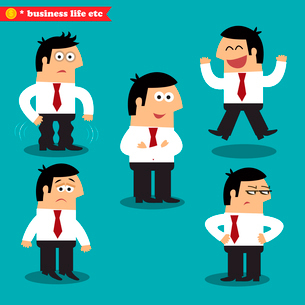 Office emotions in poses, standing set vector illustrationのイラスト素材 [FYI03119444]