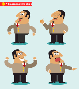Boss emotions in poses, standing set vector illustrationのイラスト素材 [FYI03119449]