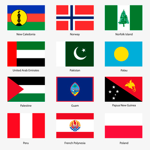 Set  Flags of world sovereign states. Vector illustration. Set number 11. Exact colors. Easy changesのイラスト素材 [FYI03119479]