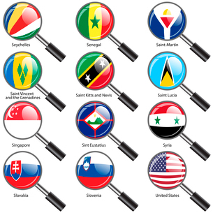 Set  Flags of world sovereign states Magnifying glass. Vector illustration. Set number 14. Exact colのイラスト素材 [FYI03119482]