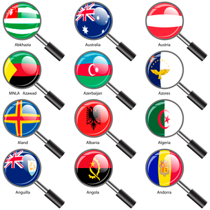 Set  Flags of world sovereign states magnifying glass. Vector illustration. Set number 1. Exact coloのイラスト素材 [FYI03119483]