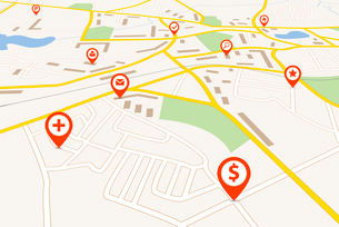 Map with red pin pointersのイラスト素材 [FYI03119485]
