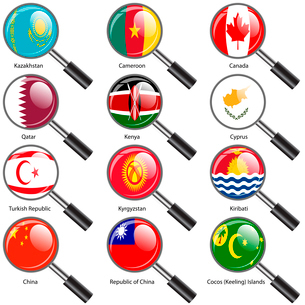 Set  Flags of world sovereign states Magnifying glass. Vector illustration. Set number 7. Exact coloのイラスト素材 [FYI03119486]